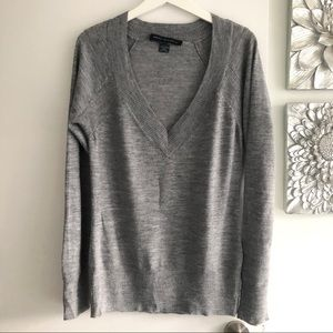 FRENCH CONNECTION Grey Wool Blend V-Neck Sweater